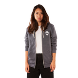 Embroidered Eco-Fleece <br>Heather Navy Unisex Zip-Up