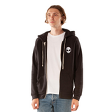 Embroidered Eco-Fleece<br>Black Unisex Zip-Up Hoodie