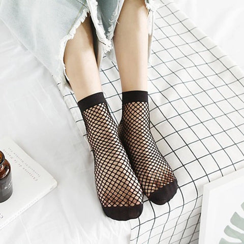 Black Ankle Fishnet Socks
