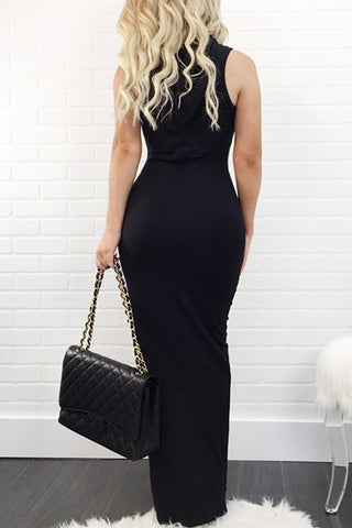 Hooded Laced Up Maxi