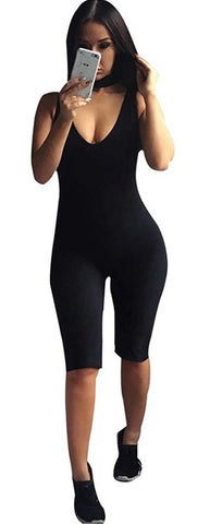 Black Knee Length Bodysuit