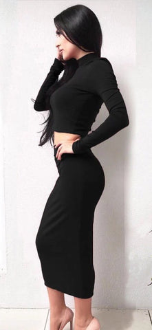 Black Long Sleeve Two-Piece Skirt Set