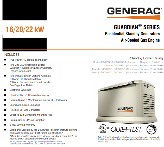 Generac 70371 | 16/16 KW Wi-Fi Air-cooled Standby Generator