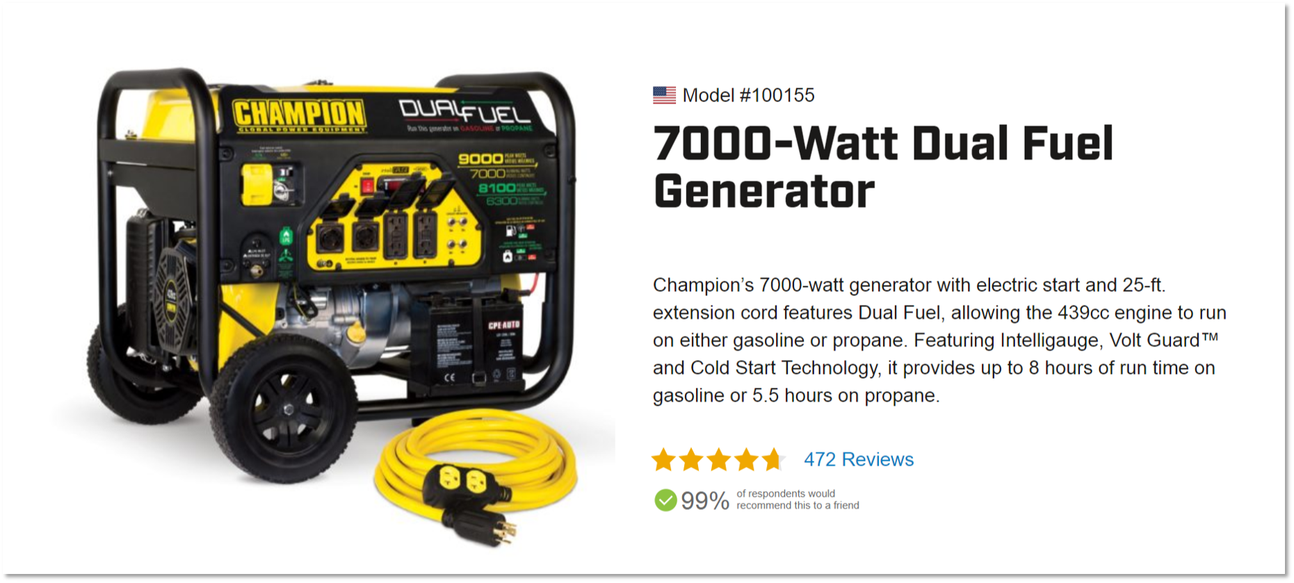 Dual Fuel Portable Generator Order A Quality 7000 Watt Champion 4000 Wiring Save On Now