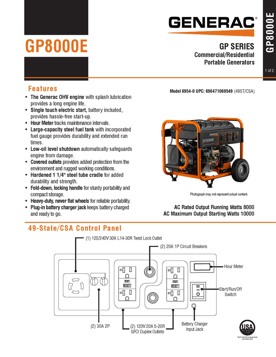 Generac 6954 Gp8000e 8000w Portable Generator Amazing Generators Wiring Diagram 220 Volt Twist Lock The Has 4 120 5 20r Outlets And 1 20 240 L14 30r Outlet Are Circuit Breaker Protected Heavy Duty Never Flat Wheels