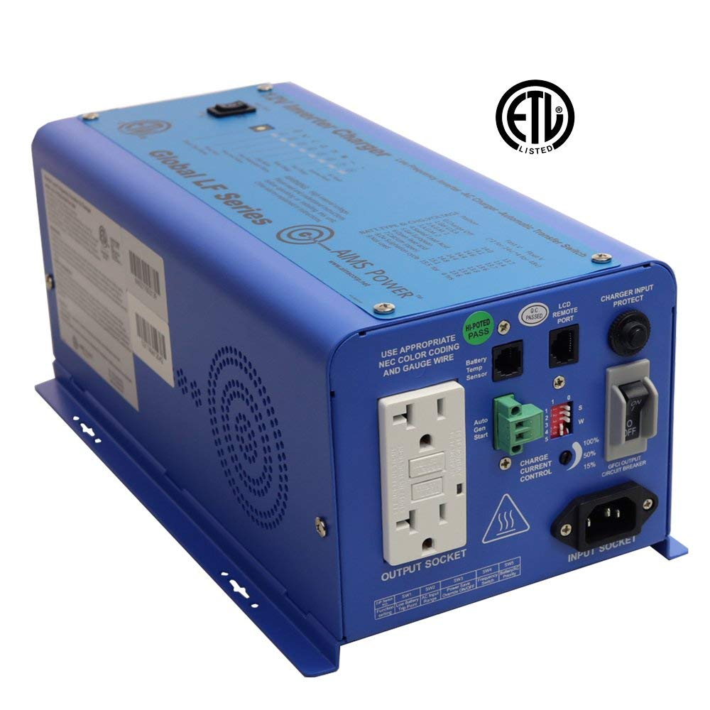 AIMS Power PICOGLF6W12V120VETL | 600W Pure Sine Inverter Charger