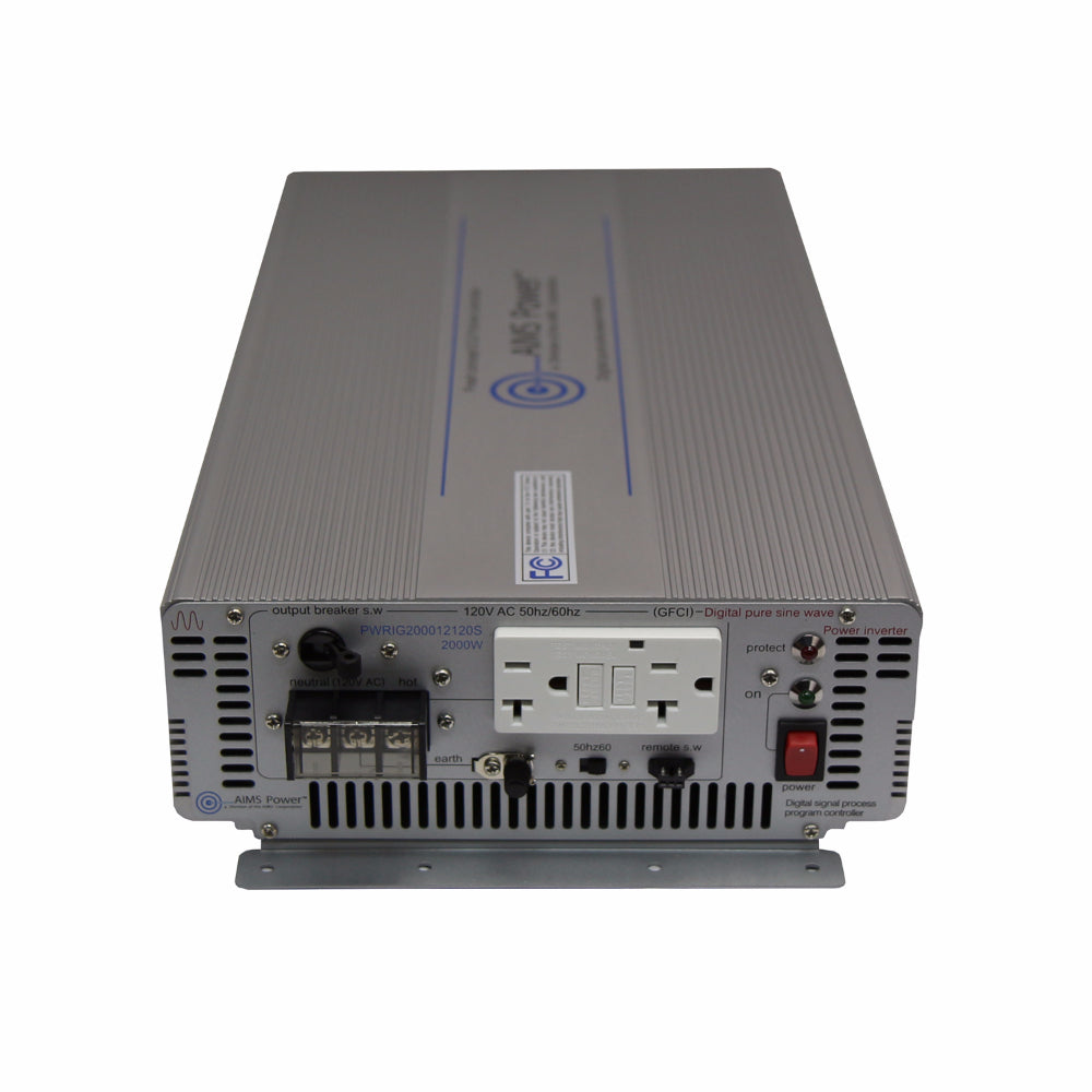 AIMS Power PWRIG200012120S | 2000W Pure Sine Power Inverter - Industrial Grade
