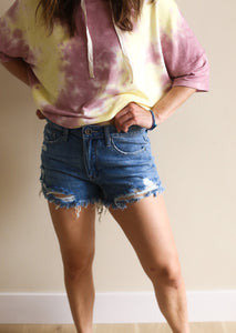 Erica Distressed High Rise Jean Shorts