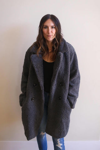 Alexa Teddy Button Down Coat