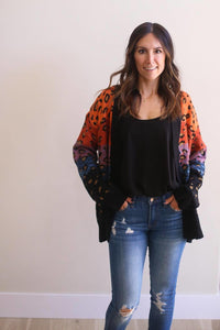 Dane Color Block Animal Print Cardigan