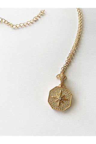 Hexagon Pave Star Necklace