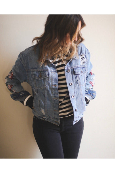 Wild Flowers Embroidered Jean Jacket