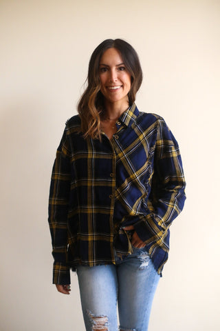Kevin Plaid Button Up Top