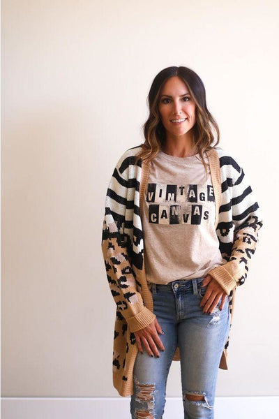 Natalie Leopard and Stripe Cardigan