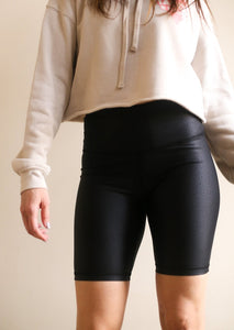 Pebble Faux Leather Biker Shorts