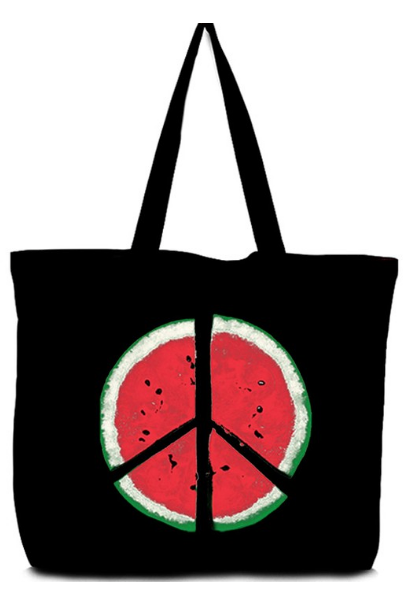Watermelon Peace Sign Canvas Tote