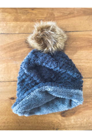 Snow Day Fleece Furry Pom Beanie