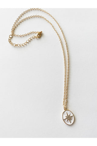 White Pave Star Coin Necklace