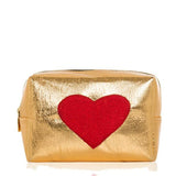 Gold Red Heart Make Up Bag