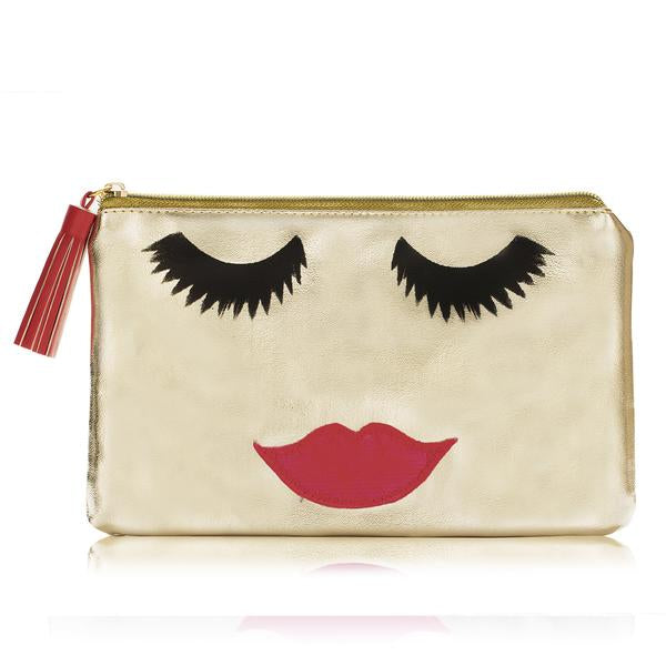 Gold Beautiful Lady Make Up Bag