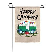 Happy Campers Travel Trailer Garden Suede Flag