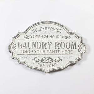 LAUNDRY ROOM METAL WALL PLAQUE