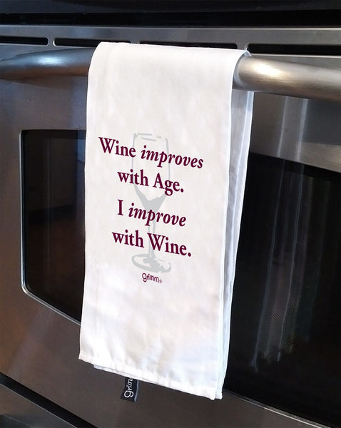 Tea Towel -Wine improves with age