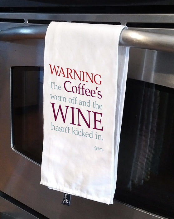 Tea Towel -Warning the coffee's