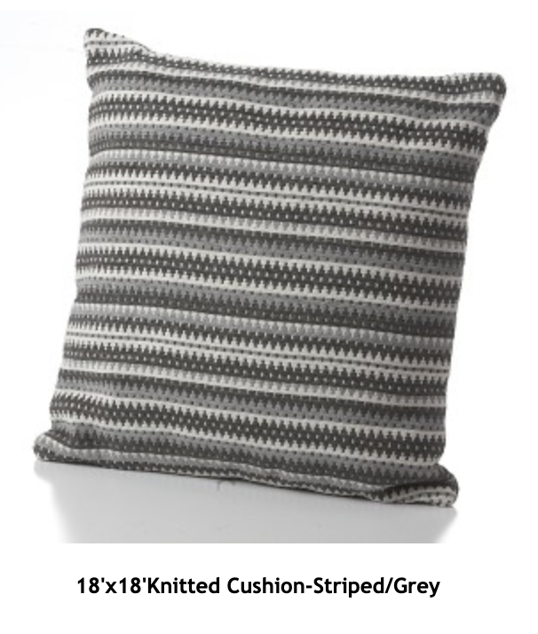 Knitted Cushion-Striped Grey
