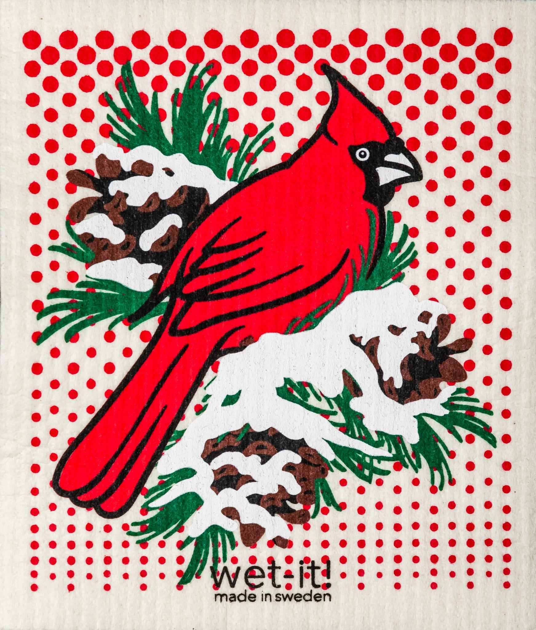 Winter Cardinal Swedish Dish Cloth