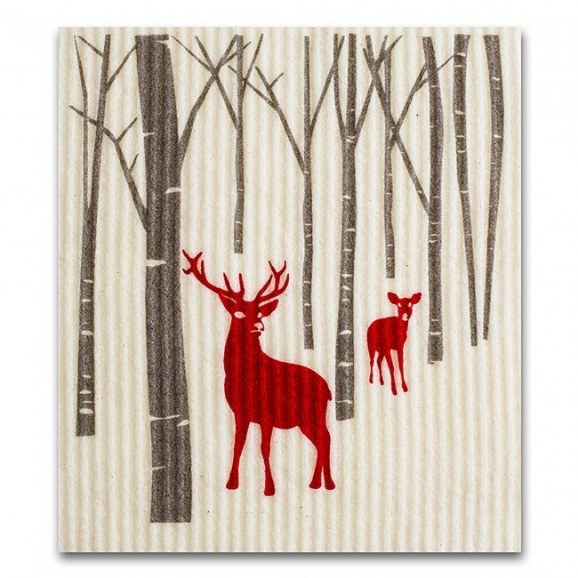 Deer in Forest Swedish Cloth