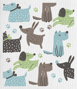 Dogs at Play Swedish Cloth