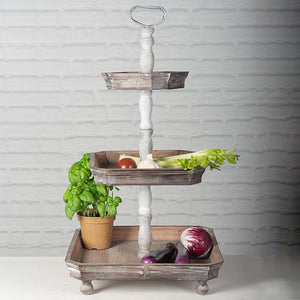 Country Wooden 3 Tier Tray