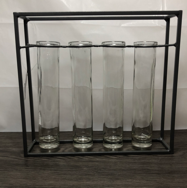 METAL FRAME 4 TUBE VASES