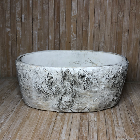 Oval Cement Birch look Planter