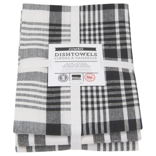 Black Jumbo Dishtowels Set of 3