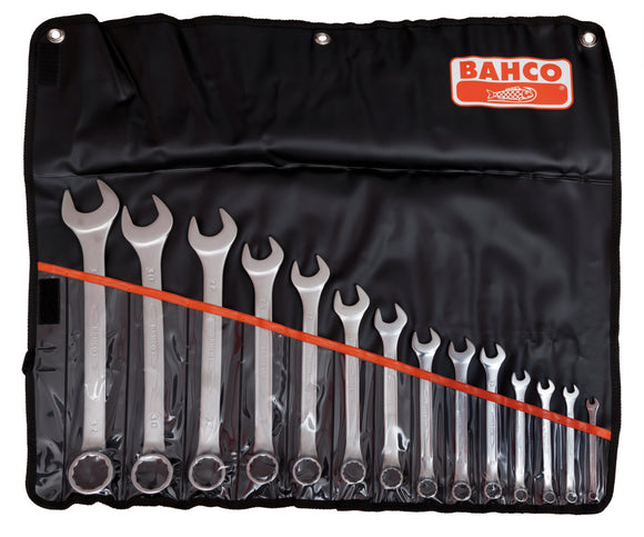 Spanner set, combination ring & open end, metric, 14 pcs - 6, 8, 9, 10, 13, 14, 15, 17, 19, 22, 24, 27, 30, 32mm