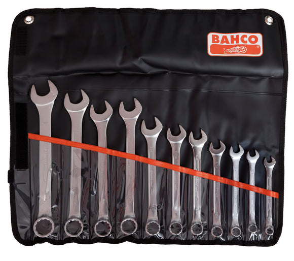Spanner set, combination ring & open end, imperial, 11 pcs - 3/8, 7/16, 1/2, 9/16, 5/8, 11/16, 3/4, 13/16, 7/8, 15/16, 1