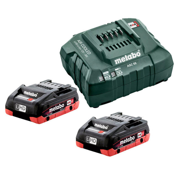 Metabo  18 V LiHD Starter Pack 2 x 4.0 Ah (2 x 18 V 4.0 Ah LiHD Battery Packs, 1 x ASC 55 Air-cooled Charger) 4.0 LiHD KIT