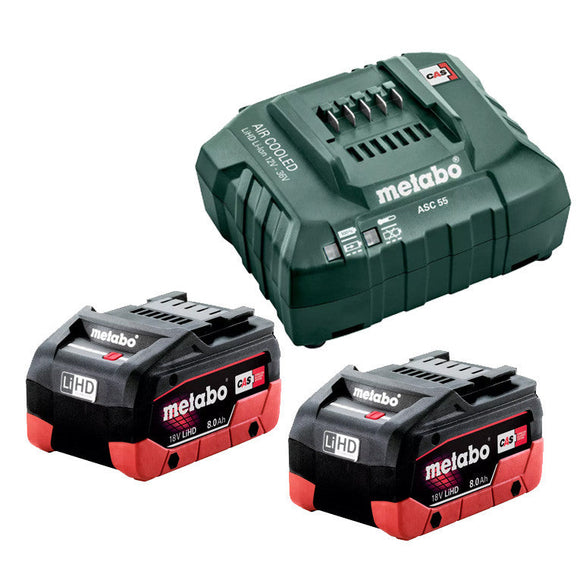 Metabo  18 V LiHD Starter Pack 2 x 8.0 Ah (2 x 18 V 8.0 Ah LiHD Battery Packs, 1 x ASC 55 Air-cooled Charger) 8.0 LiHD KIT