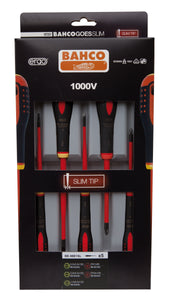 5 pce Slim Line 1000v insulated screwdriver set. 3 x slotted - 0.5x3.0 x 75, 0.8 x 4.0 x 100, 1.0 x 5.5 x 125                                 2 x Phillips Head PH1 x 80, PH 2 x 100