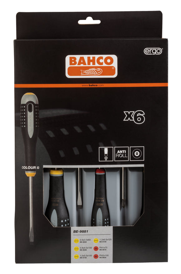 ERGO handled 6 piece Screwdriver Set.  Set contains:  4 Slotted & 2 Phillips Head