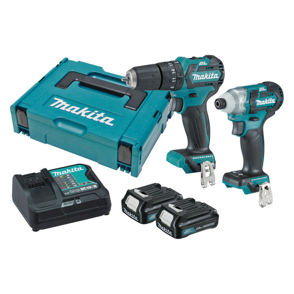 Makita 12V 2 Piece BRUSHLESS Combo Kit - HP332DZ, TD111DZ, 2 x BL1021B, DC10SB, Connector Case (821549-5)