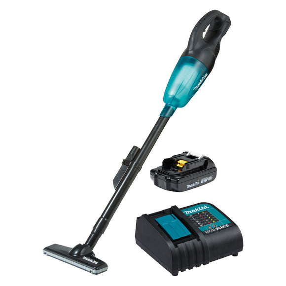 Makita 18V Stick Vacuum, black housing, high performance filter, transparent capsule Kit - Includes 1 x 1.5Ah Battery & Charger