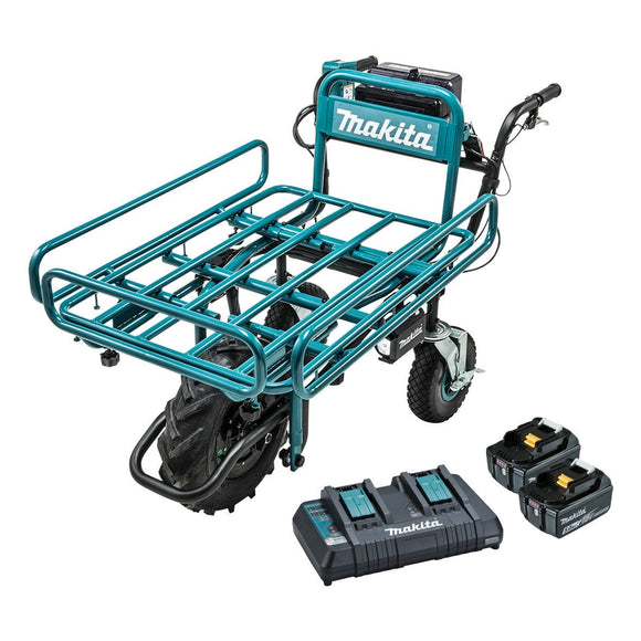 Makita 18Vx2 BRUSHLESS Wheelbarrow with pipe frame (199116-7) Kit - Includes 2 x 5.0Ah Batteries & Dual Port Rapid Charger
