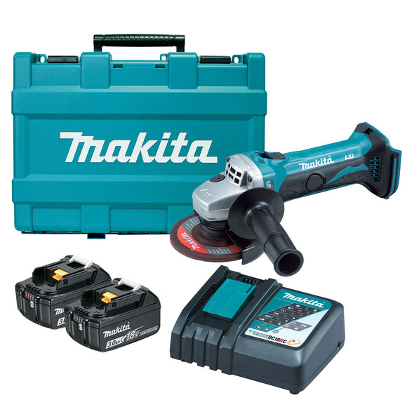 Makita 18V 115mm Angle Grinder Kit - Includes 2 x 3.0Ah Batteries, Rapid Charger & Carry Case