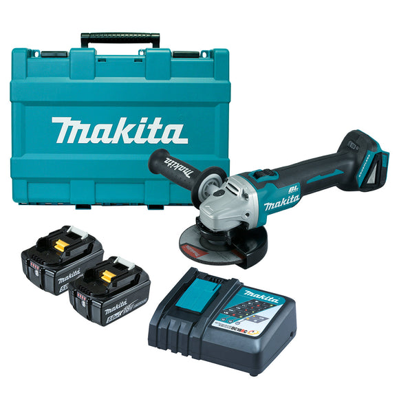 Makita 18V BRUSHLESS 125mm Slide Switch Angle Grinder Kit - Includes 2 x 5.0Ah Batteries, Rapid Charger & Carry Case