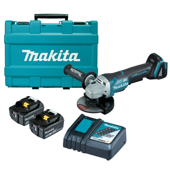 Makita 18V BRUSHLESS 125mm Paddle Switch Angle Grinder Kit - Includes 2 x 5.0Ah Batteries, Rapid Charger & Carry Case