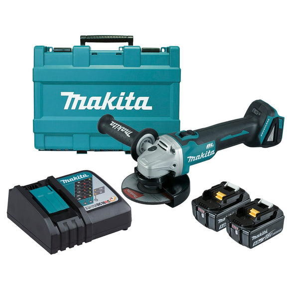 Makita 18V BRUSHLESS 125mm Slide Switch Brake Angle Grinder Kit - Includes 2 x 5.0Ah Batteries, Rapid Charger & Carry Case