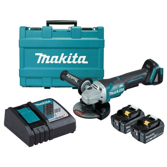 Makita 18V BRUSHLESS 125mm Paddle Switch Brake Angle Grinder Kit - Includes 2 x 5.0Ah Batteries, Rapid Charger & Carry Case